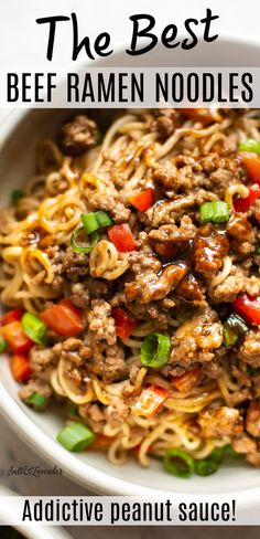 This easy recipe makes the best beef ramen noodles. It's a simple stir fry noodle bowl that has tender ground beef with an addictive savory and sweet peanut butter, sriracha, ginger, and hoisin sauce! Ramen Recipes, Pork Recipes, Lunch Recipes, Easy Dinner Recipes, Asian Recipes, Vegetarian Recipes, Chicken Recipes, Easy Meals, Cooking Recipes