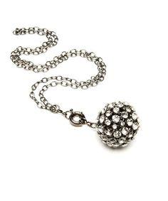 Look at this #zulilyfind! White Gold & Gunmetal Crystal Ball Pendant Necklace #zulilyfinds