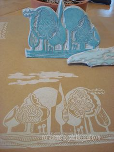 "Original design & handmade Stamps set ""Bosque"" and ""Nubes"""