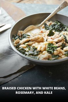Braised Chicken with White Beans, Rosemary, and Kale! The perfect ...