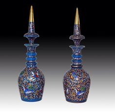 Pair of Enameled Bohemian Persian Market Decanters