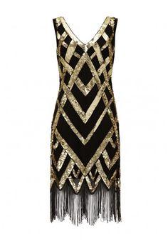 Gatsbylady Glitz Black Gold Fringe Flapper Dress