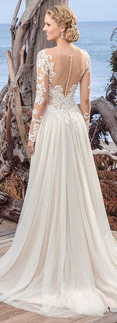 Wedding dress with long Sleeve lace wedding dress and tulle skirt by Beloved by Casablanca