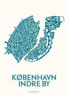 KORTKARTELLET KØBENHAVN, INDRE BY - PETROLEUM - 50x70 CM