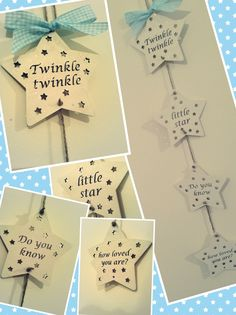 Twinkle twinkle little star, do you know how loved you are hanging wooden star decoration.  Available in other colours.  Made by Evie's Attic  Find us on Facebook <3