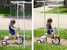 Kid wash with PVC pipes. Fun water play.