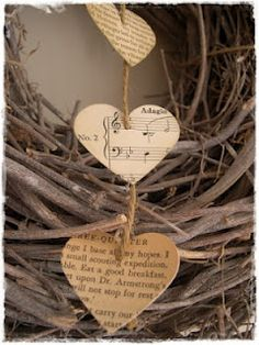 love quotes, poems or sheet music hung around a wreath