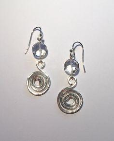 Sterling Silver Hammered Spiral & Quartz by SpiralVineDesigns