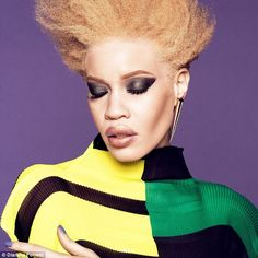 Diandra Forrest, is the first albino model to land a major beauty campaign with Wet n Wild's new Breaking Beauty collection designed to break conventional beauty molds. Albino Model, Black Girls, Black Women, Afro, Different Shades Of Black, Wet N Wild Beauty, Female Models, Women Models, Model One