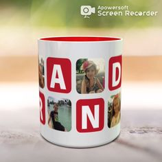 Custom coffee Mug for Grandma with Your Photos. Personalized gift for Grandmother. Customized, cute custom mug. Grandma Mug, Grandma Gifts, Customised Mugs, Custom Mugs, Personalized Coffee Mugs, Personalized Gifts, Names For Boyfriend, Print Design, Graphic Design