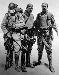 French Trench Cleaners c.1915 Picture of three French soldiers equipped for trench warfare, using metal skullcaps, body armor, a 1886 Lebel rifle, a MAS 1873 revolver and what appears to be a vast collection of...