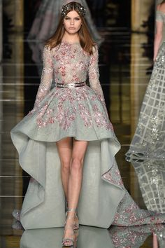 Zuhair Murad Spring 2016 Couture: High/low gowns are all the rage on the runway for Spring 2016. Feminine and glam!
