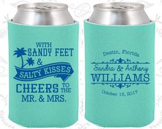 Sandy Feet and Salty Kisses, Cheers to Mr and Mrs, Wedding Giveaways, Summer Wedding, Beach Wedding Favors, Wedding Koozies (34)