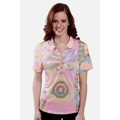 Jamie Sadock Bombshell Women's Abstract Dot Print Short Sleeve Polo Golf Shirt-Bombshell pink