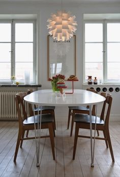 white and wood kitchen/dining