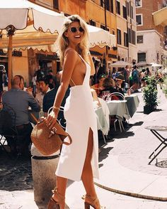 Braless beauty: Natasha Oakley (pictured) swapped her bikini-clad style for a silk white dress as she flaunted plenty of sideboob during a sunny trip to Rome, Italy on Thursday Natasha Oakley, Look Fashion, Fashion Outfits, Womens Fashion, Fashion Clothes, Fashion Weeks, Fall Fashion, Fashion Tips, Fashion Trends
