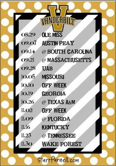 Get it for FREE on my Facebook page www.Facebook.com/StarrParnellDesigns  Printable Vanderbilt University Football Schedule by StarrParnell, $1.00