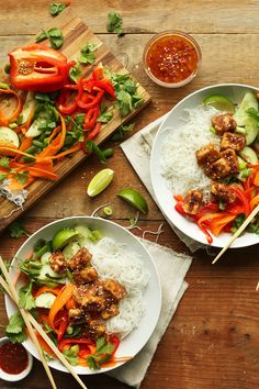 Thai Noodle Bowls with Crispy Almond Butter Tofu