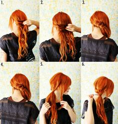 Here's how to style a twisted ponytail... 1. Begin by pinning a small section of hair at the back of the neck. 2-4. Continue pulling small sections of hair across and pinning along the base of the neck. 5. Continue until you can gather the hair into a side ponytail, leaving out a section in the front. 6. Tie off the ponytail and wrap the remaining hair around the pony...