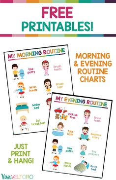 These daily routine charts for kids are perfect for toddlers or early readers! G… These daily routine charts for kids are perfect for toddlers or early readers! Grab your FREE Printable morning and evening routine charts. Toddler Routine Chart, Daily Routine Chart For Kids, Morning Routine Chart, Morning Routine Kids, Charts For Kids, Night Routine, Bedtime Routine Chart, Morning Routine Printable, Bedtime Chart