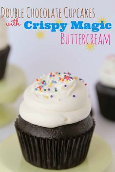 Double Chocolate Cupcakes and Crispy Magic Frosting