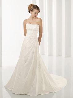 A-line Strapless Taffeta Court Train Appliques Wedding Dresses Shop uk
