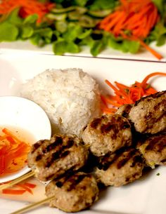Vietnamese Grilled Pork Patty Skewers (Nem Nuong)