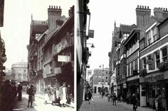 Bridlesmith Gate then and now - pic on the the left taken roughly sometime between 1899 to and the one on the right today London History, Local History, Family History, Nottingham City, Good Old Times, History Photos, Glasgow, Old Photos, Past
