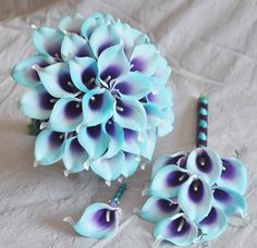 Your place to buy and sell all things handmade - Wedding Bouquet Purple Turquoise Blue Picasso Calla Lily Bridal Bouquet Bridesmaid Bouquet Groom Gr - Calla Lily Bridal Bouquet, Flower Girl Bouquet, Purple Wedding Bouquets, Blue Bouquet, Purple Wedding Flowers, Bridal Flowers, Wedding Blue, Bridesmaid Bouquets, Bridal Bouquets