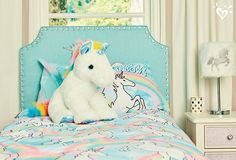 Every girl's space can use a little more unicorn. Find this extra-special headboard, bedding, decor and more at shopjustice.com.