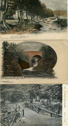 Three Postcards Milford PA The Sawkill Van Demark Bridge Hermitage Glen 1907 | eBay
