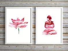 Pink red Buddha Lotus flower watercolor  by Lemonillustrations