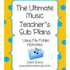 Sub Plans for Music Class using File Folders - This is Awesome!!  Makes music teachers absences much easier!