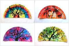 With students of Year 6 we painted some fans in Oriental style, with colorful watercolors on the background and silhouettes of bamboo plants and branches with cherry blossoms painted in black ink. For the fans we merely used half of a paper plate Paper Plate Crafts, Paper Plates, Painting For Kids, Art For Kids, Cherry Blossom Painting, Cherry Blossoms, Preschool Art Activities, Class Activities, Culture Day