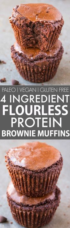 Healthy FOUR ingredient Flourless Protein Brownie Muffins (V, GF, Paleo)- NO butter, oil, grains or flour needed to make these rich, dense, subtly sweet brownie muffins packed with protein- A quick and easy snack which DON'T taste healthy! {vegan, gluten free, refined sugar free, paleo recipe}- thebigmansworld.com
