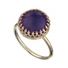 Golg Filled Ring With Amethyst
