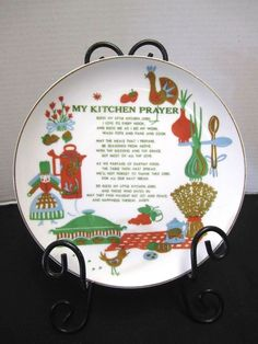 Vintage Kitchen Prayer Plate Pennsylvania Dutch Rooster Coffee Pot Wall Art