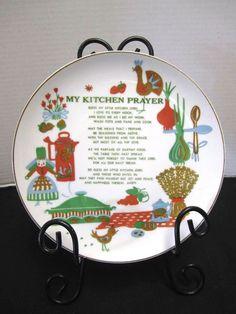 Vintage Kitchen Prayer Plate Pennsylvania Dutch Rooster Coffee Pot Wall Art