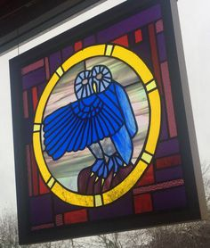 "Stained Glass Owl from #dolittleglass. ""Owl in the Flashlight"".   Made using the Tiffany method.  This design works well displayed as a wall hung picture or as window panel.  Inspired by seeing lots of Owls. Street art, company logos and nature. Not forgetting the Harry Potter notion of sending Owls."