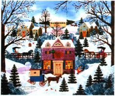 A Welcome Winter Glow - Painting by Jane Wooster Scott. Chart design by Michele Sayetta for Heaven and Earth Designs. Christmas Scenes, Christmas Art, Christmas Stockings, Xmas, Welcome Winter, Earth Design, Art Pictures, Photos, Cross Stitch Art