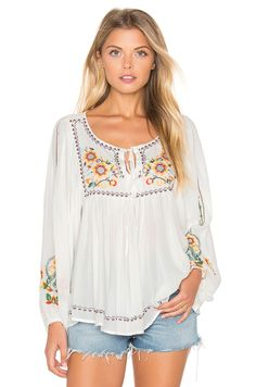FARM Peasant Top in White