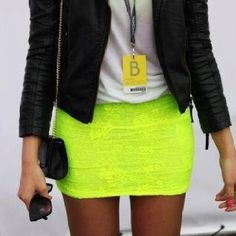 Plain white t-shirt, black leather jacket, and neon lace pencil skirt<3