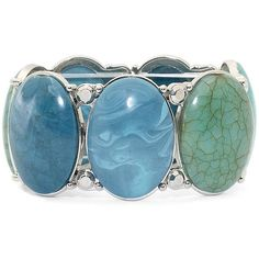 Mixit Silver-Tone Aqua Marble Oval Bracelet ($13) ❤ liked on Polyvore featuring jewelry, bracelets, accessories, aqua blue jewelry, oval bangle, silvertone jewelry, aqua jewelry and mixit jewelry