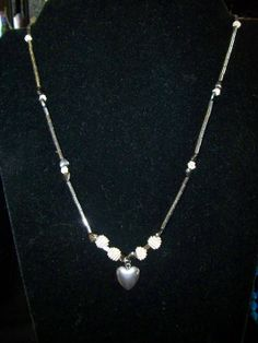 Hematite and Silver Necklace with Hematite Heart