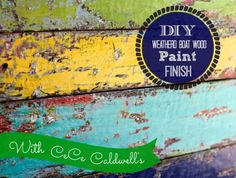 How to Get this Chippy Weathered Boat Wood Paint Finish - via Debi's Design Diary