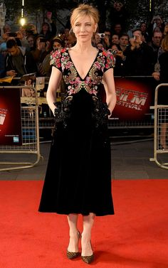 17 October Cate Blanchett walked the red carpet in a velvet embellished Schiaparelli dress and Roger Vivier shoes at the BFI London Film Festival premiere of Truth. Getty Images   - HarpersBAZAAR.co.uk