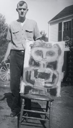 Cy Twombly with unidentified work 1940's.
