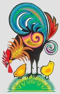 Studio Kaleta: Scissor paper cutouts – traditional Polish folk art designs with the rooster