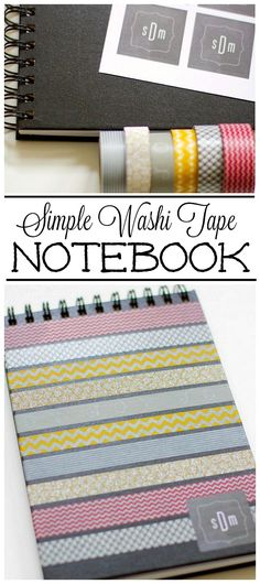 Create this cute washi tape notebook to jot down shopping lists,  favorite quotes, to-do lists and more!  Great to keep in your purse!
