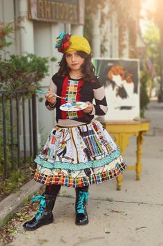 Girls Little Artist twirly skirt by ISADORAKIDS on Etsy, $49.00